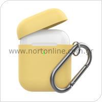 Θήκη Σιλικόνης AhaStyle PT06-F Apple AirPods Premium με Γάντζο Κίτρινο