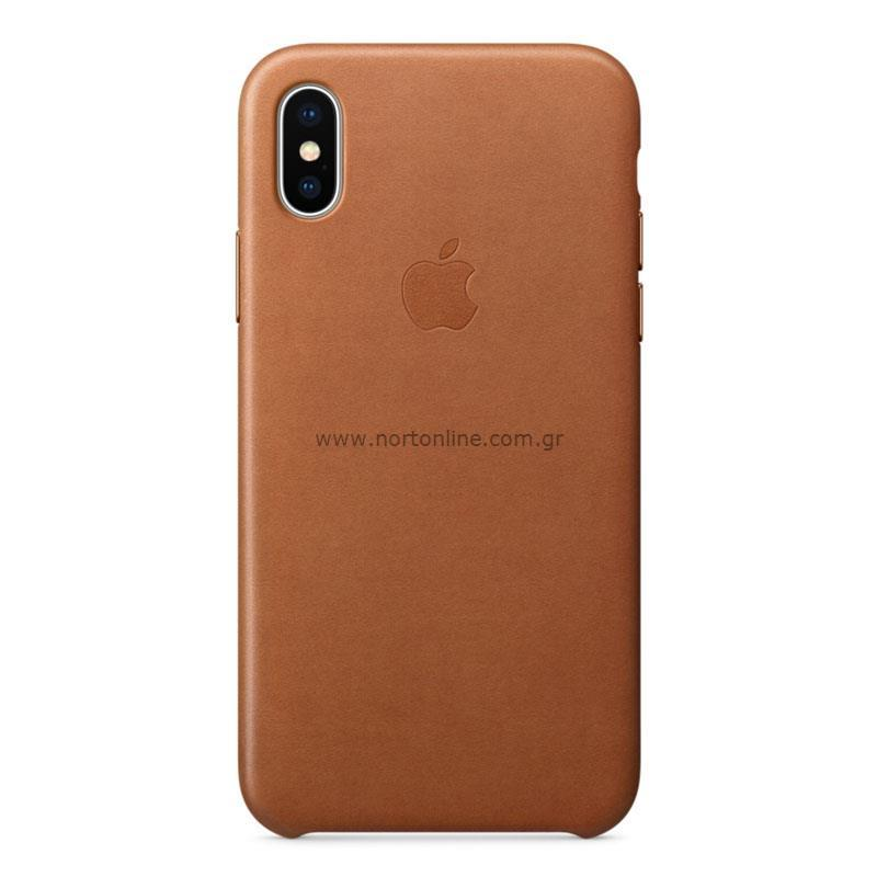 newest 535f4 7a0fc Leather Case Apple MQTA2 iPhone X Saddle Brown - Apple - Cases ...