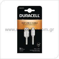 Καλώδιο Σύνδεσης USB 3.0 Duracell USB A σε USB C 1m Λευκό