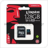 Κάρτα μνήμης Micro SDXC C10 UHS-I U3 Kingston Canvas Go 90MB/s 128Gb + 1 ADP