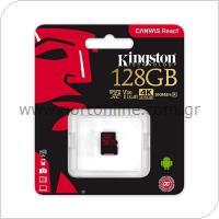 Κάρτα μνήμης Micro SDXC C10 UHS-I U3 Kingston Canvas React 100MB/s 128Gb