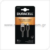 Καλώδιο Σύνδεσης USB 3.0 Duracell USB A σε USB C 1m Μαύρο