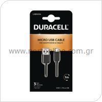 Καλώδιο Σύνδεσης USB 2.0 Duracell USB A σε Micro USB 1m Μαύρο