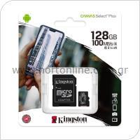 Κάρτα μνήμης Micro SDHC C10 UHS-I U1 Kingston Canvas Select Plus 100MB/s 128Gb + 1 ADP