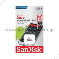 Κάρτα μνήμης Micro SDHC C10 SanDisk Ultra 80MB/s 16Gb