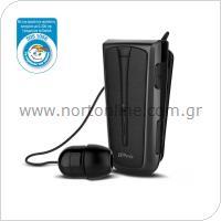 Στερεοφωνικό Ακουστικό Bluetooth iPro RH219s Retractable με Δόνηση Μαύρο-Γκρι
