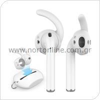 Earhooks Σιλικόνης με Θήκη AhaStyle PT60 Apple EarPods & Airpods Comfort Λευκό (3 ζεύγη)