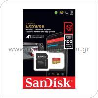 Κάρτα μνήμης Micro SDHC C10 UHS-I SanDisk Extreme 100MB/s 32Gb + 1 ADP