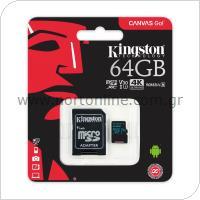Κάρτα μνήμης Micro SDXC C10 UHS-I U3 Kingston Canvas Go 90MB/s 64Gb + 1 ADP