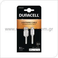Καλώδιο Σύνδεσης USB 2.0 Duracell USB A to MFI Lightning 2m Λευκό