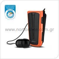 Στερεοφωνικό Ακουστικό Bluetooth iPro RH219s Retractable με Δόνηση Μαύρο-Πορτοκαλί
