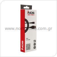 Καλώδιο Σύνδεσης USB 2.0 inos USB A σε USB C 2m Μαύρο