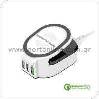 Ασύρματος Φορτιστής Qi Ταχείας Φόρτισης inos με Τριπλή Έδοδο USB