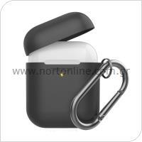 Θήκη Σιλικόνης AhaStyle PT06-F Apple AirPods Premium με Γάντζο Μαύρο