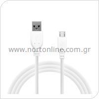 Καλώδιο Σύνδεσης USB 2.0 inos USB A σε Micro USB 1m Λευκό