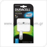 Φορτιστής Ταξιδίου Duracell με Διπλή Έξοδο USB 4.8A Λευκό