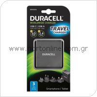 Φορτιστής Ταξιδίου Duracell Worldwide EU/UK/US/AU με Έδοδο USB A & USB C 5.4A Μαύρο