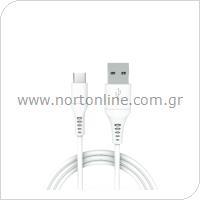 Καλώδιο Σύνδεσης USB 2.0 inos USB A σε USB C 1m Λευκό