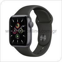 Apple Watch SE GPS 40mm Γκρι με Sport Band Μαύρο